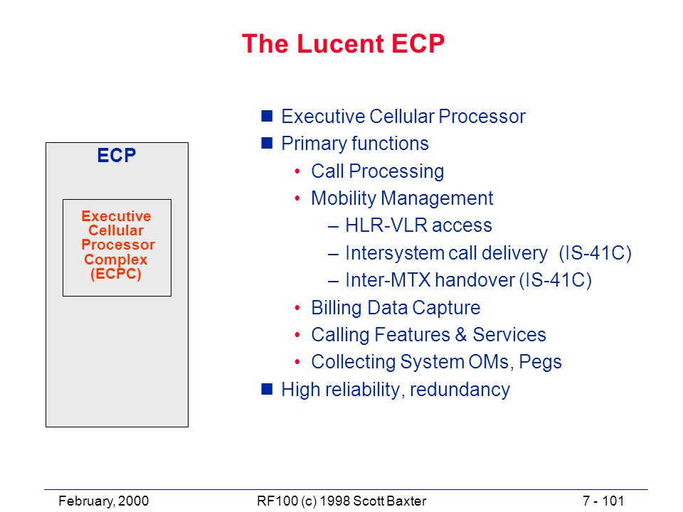February, 20007 - 101RF100 (c) 1998 Scott Baxter The Lucent ECP nExecutive Cellular Processor nPrimary functions Call Processing Mobility Management –HLR-VLR access –Intersystem call delivery (IS-41C) –Inter-MTX handover (IS-41C) Billing Data Capture Calling Features & Services Collecting System OMs, Pegs nHigh reliability, redundancy ECP Executive Cellular Processor Complex (ECPC)