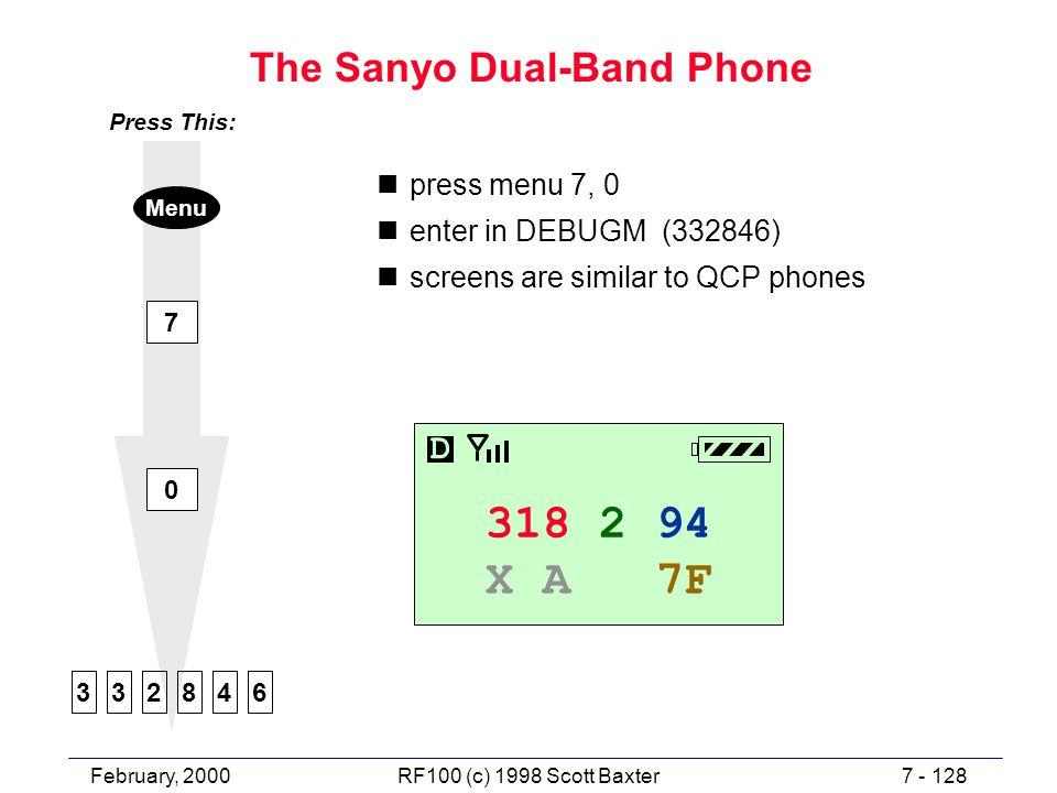 February, 20007 - 128RF100 (c) 1998 Scott Baxter The Sanyo Dual-Band Phone npress menu 7, 0 nenter in DEBUGM (332846) nscreens are similar to QCP phones 7 0 482336 Press This: Menu 318 2 94 X A 7F D