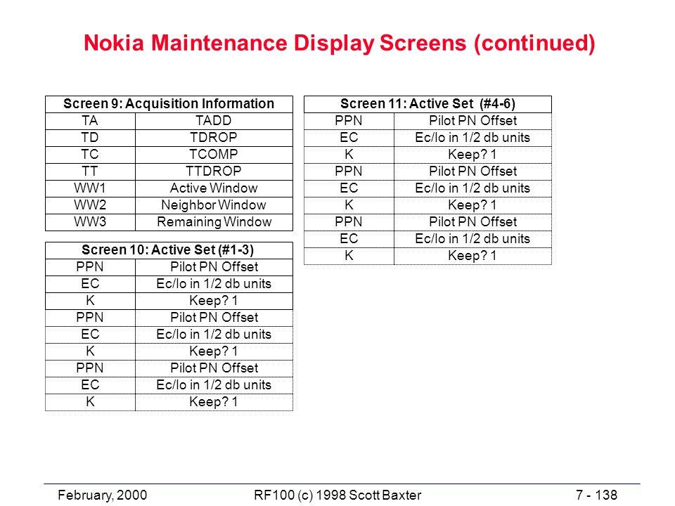 February, 20007 - 138RF100 (c) 1998 Scott Baxter Nokia Maintenance Display Screens (continued) TADD TDROP TA TD Screen 9: Acquisition Information TCOM
