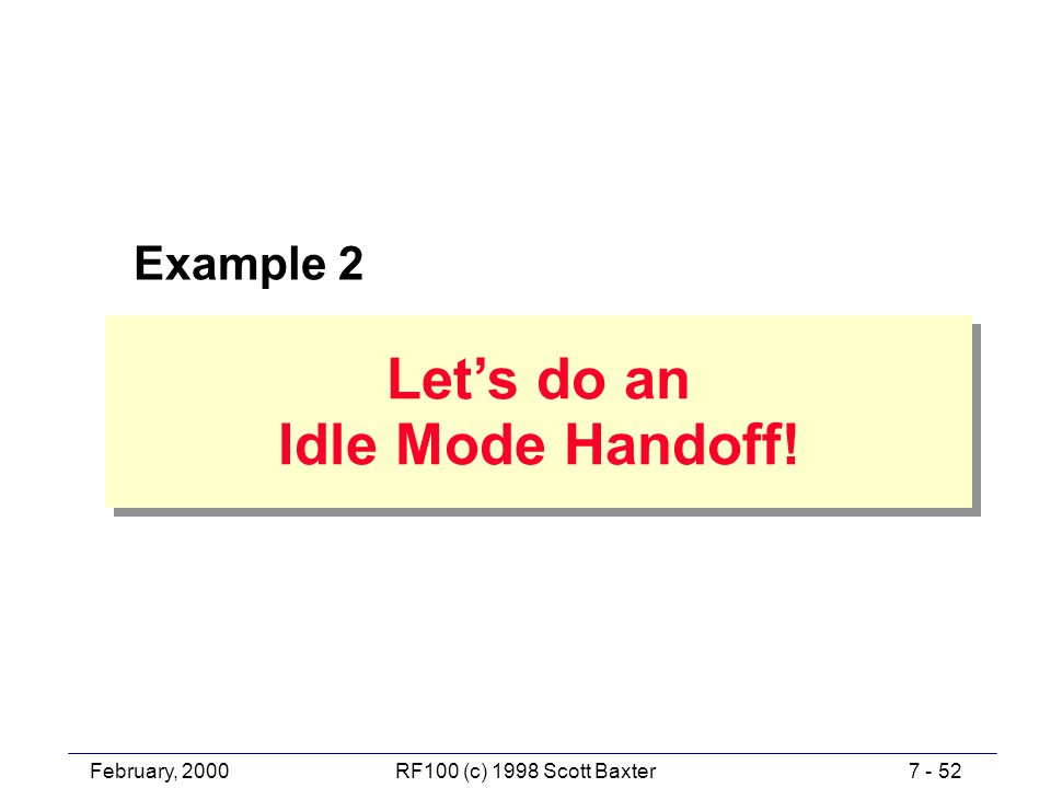 February, 20007 - 52RF100 (c) 1998 Scott Baxter Let's do an Idle Mode Handoff! Let's do an Idle Mode Handoff! Example 2