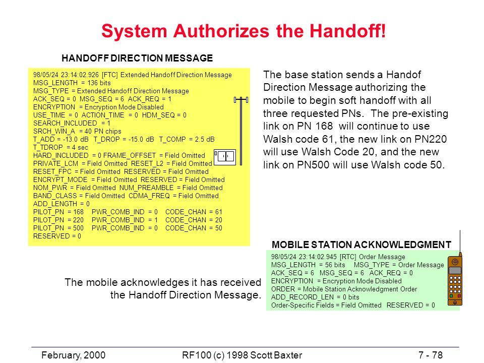 February, 20007 - 78RF100 (c) 1998 Scott Baxter System Authorizes the Handoff! 98/05/24 23:14:02.926 [FTC] Extended Handoff Direction Message MSG_LENG