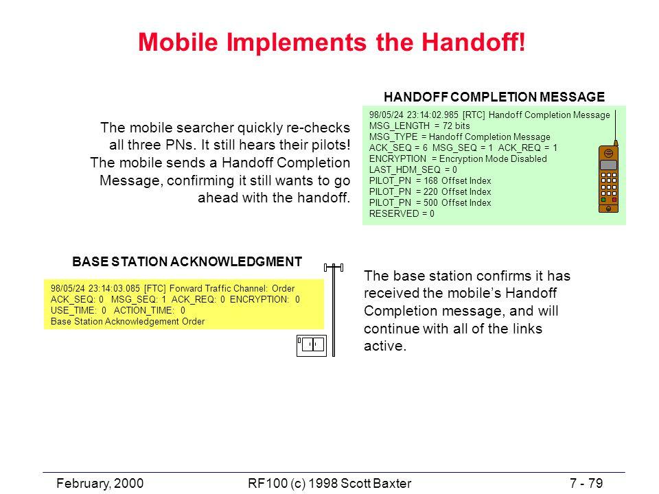 February, 20007 - 79RF100 (c) 1998 Scott Baxter Mobile Implements the Handoff.
