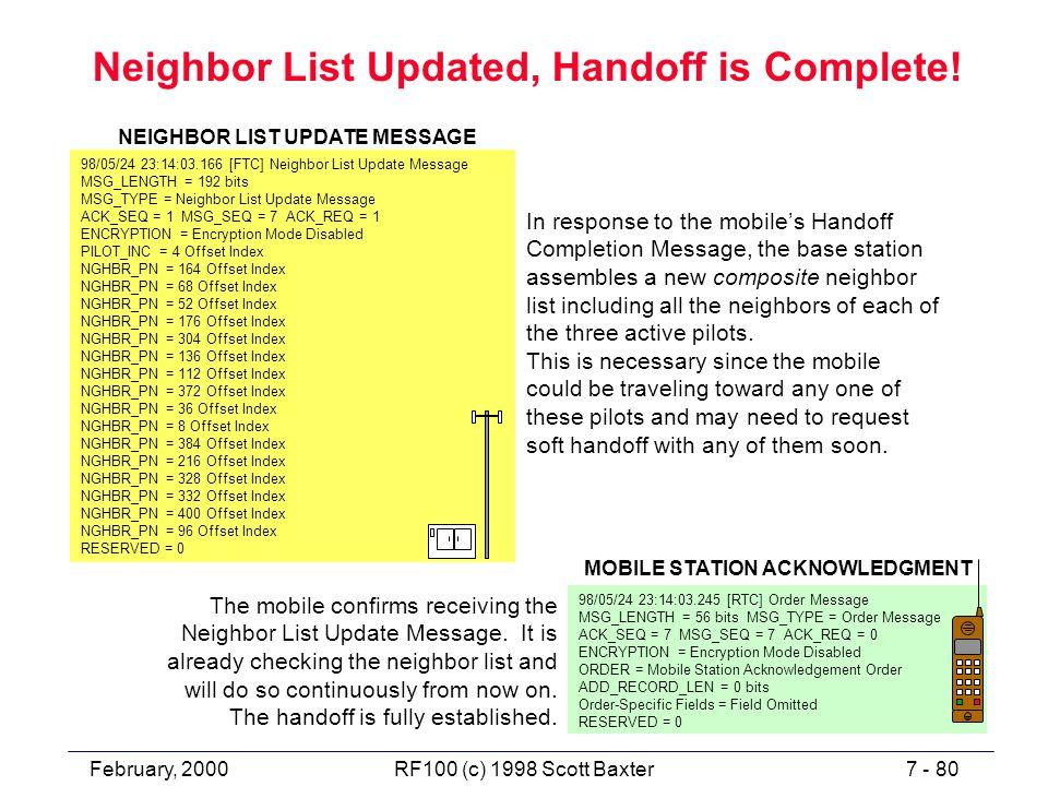 February, 20007 - 80RF100 (c) 1998 Scott Baxter Neighbor List Updated, Handoff is Complete.