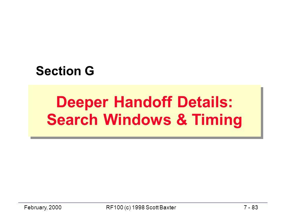 February, 20007 - 83RF100 (c) 1998 Scott Baxter Deeper Handoff Details: Search Windows & Timing Deeper Handoff Details: Search Windows & Timing Section G