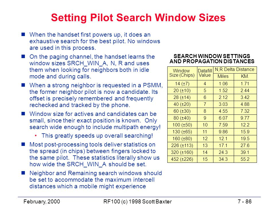 February, 20007 - 86RF100 (c) 1998 Scott Baxter Setting Pilot Search Window Sizes nWhen the handset first powers up, it does an exhaustive search for the best pilot.