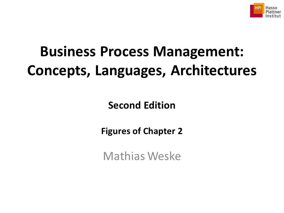 Legal Notice This PowerPoint file contains figures used in – Mathias Weske, Business Process Management: Concepts, Languages, Architectures 2012, XIV, 403 p.