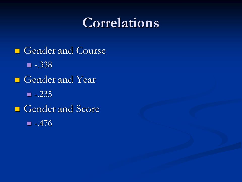 Correlations Gender and Course Gender and Course -.338 -.338 Gender and Year Gender and Year -.235 -.235 Gender and Score Gender and Score -.476 -.476