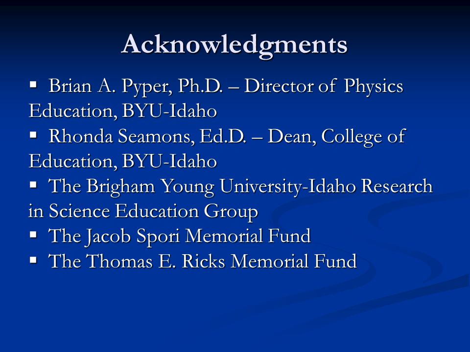 Acknowledgments  Brian A. Pyper, Ph.D.
