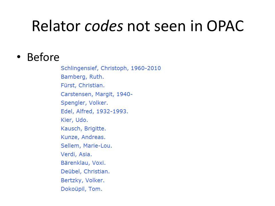 Relator codes not seen in OPAC Before