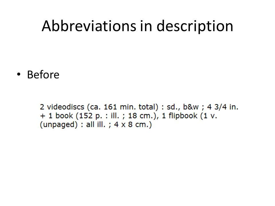 Abbreviations in description Before