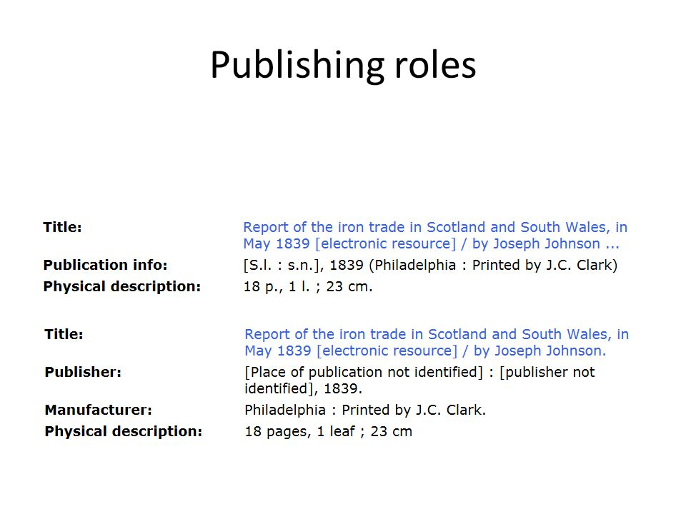 Publishing roles