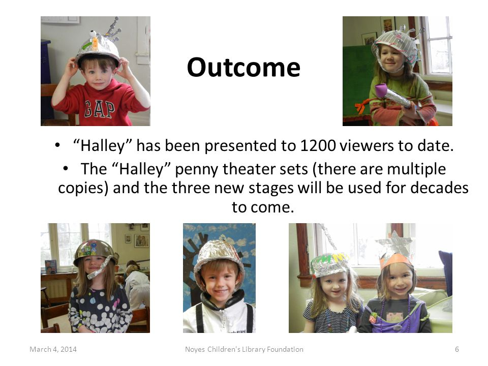 Outcome March 4, 2014Noyes Children s Library Foundation6 Halley has been presented to 1200 viewers to date.