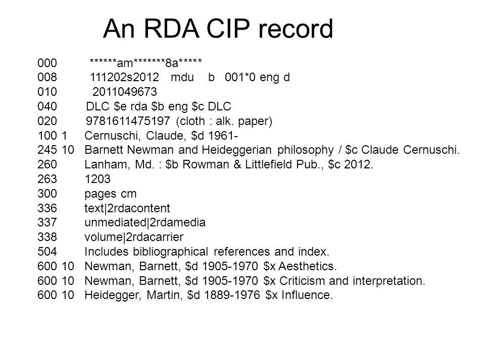 An RDA CIP record 000 ******am*******8a***** 008 111202s2012 mdu b 001*0 eng d 010 2011049673 040 DLC $e rda $b eng $c DLC 020 9781611475197 (cloth : alk.