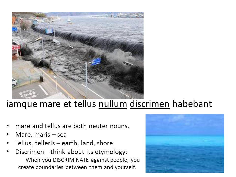 iamque mare et tellus nullum discrimen habebant mare and tellus are both neuter nouns.