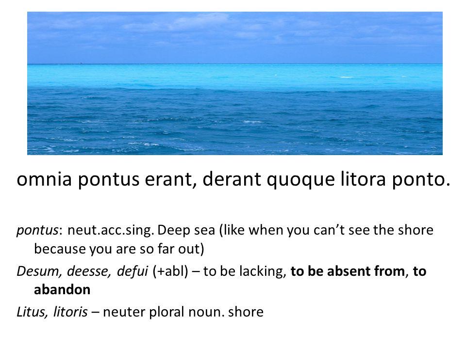 omnia pontus erant, derant quoque litora ponto.pontus: neut.acc.sing.