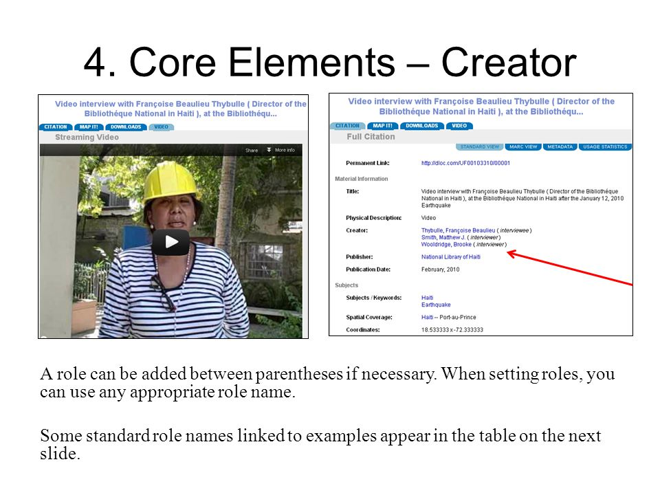 4. Core Elements – Creator A role can be added between parentheses if necessary.