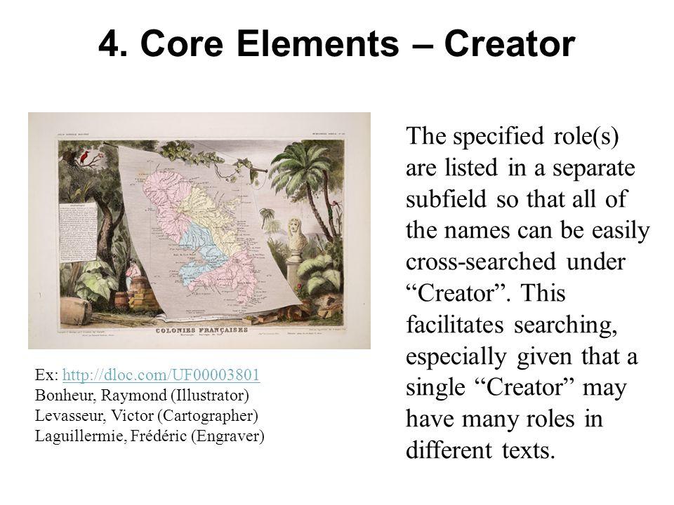 4. Core Elements – Creator Ex: http://dloc.com/UF00003801http://dloc.com/UF00003801 Bonheur, Raymond (Illustrator) Levasseur, Victor (Cartographer) La