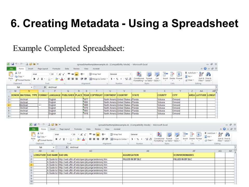 6. Creating Metadata - Using a Spreadsheet Example Completed Spreadsheet: