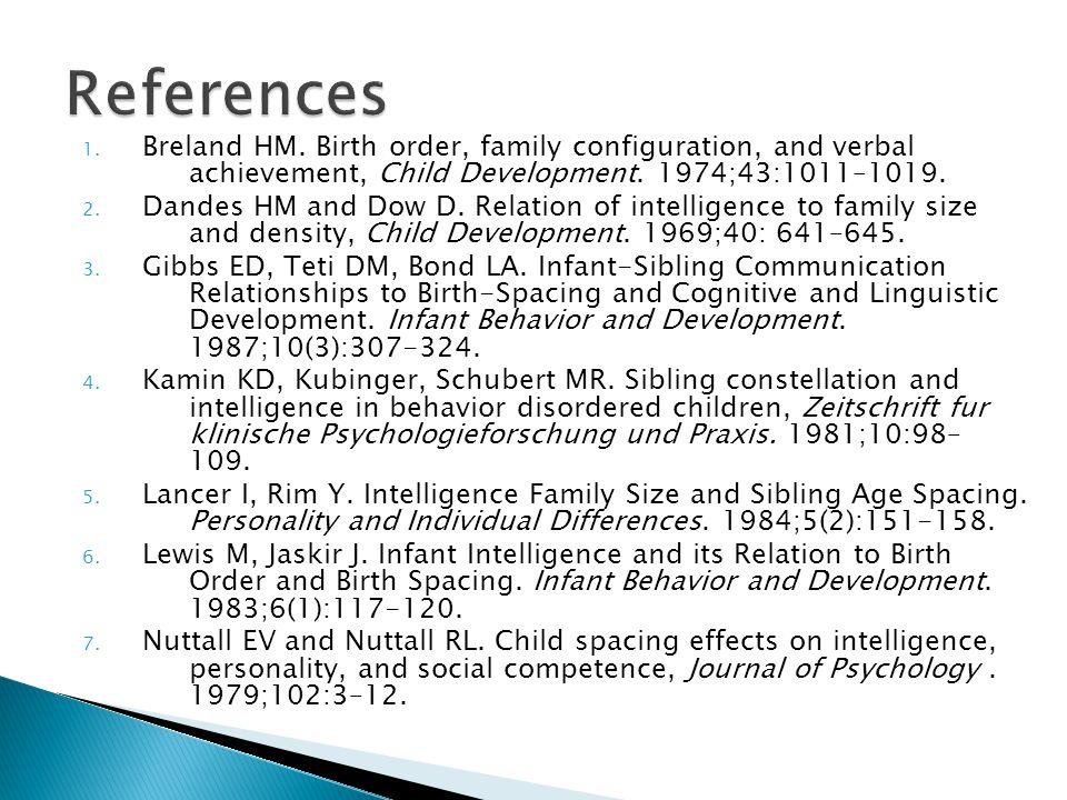 1.Breland HM. Birth order, family configuration, and verbal achievement, Child Development.