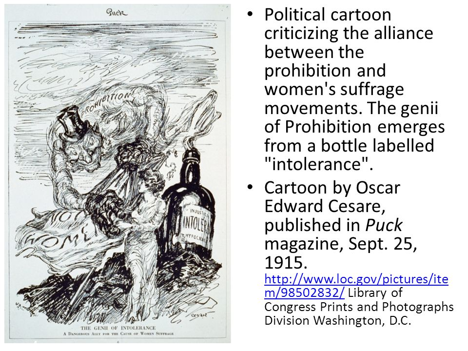 Political cartoon criticizing the alliance between the prohibition and women s suffrage movements.