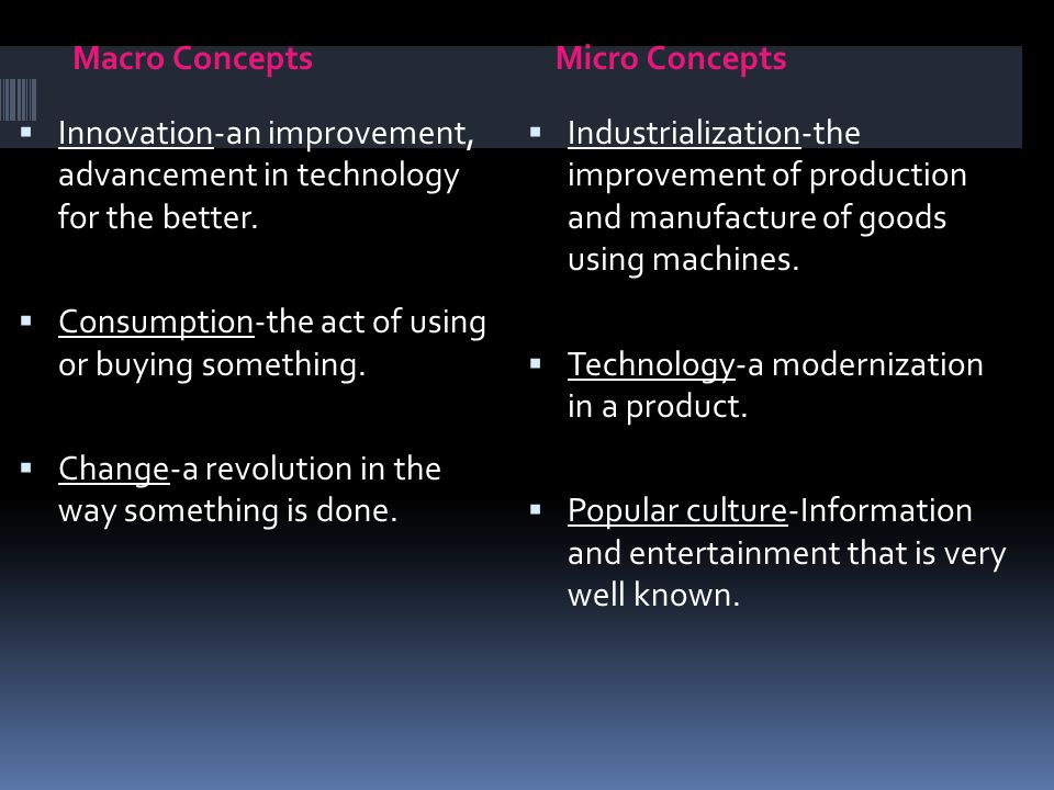 Macro ConceptsMicro Concepts  Innovation-an improvement, advancement in technology for the better.