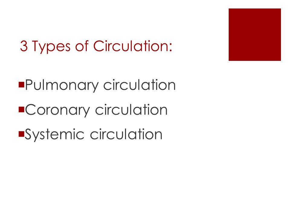 3 Types of Circulation:  Pulmonary circulation  Coronary circulation  Systemic circulation