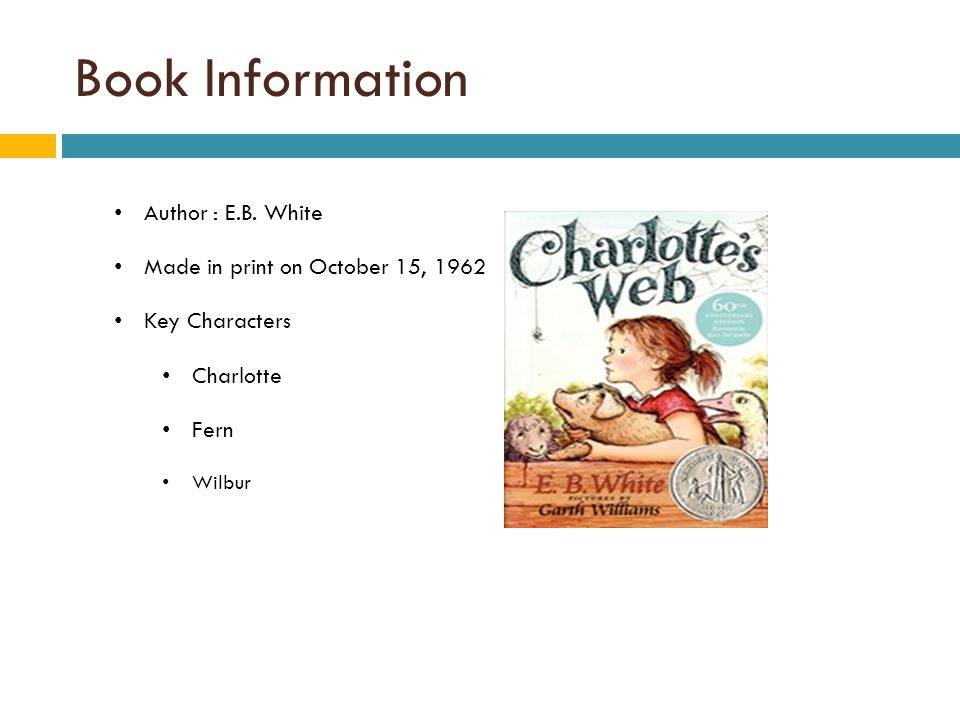 Book Information Author : E.B. White Made in print on October 15, 1962 Key Characters Charlotte Fern Wilbur