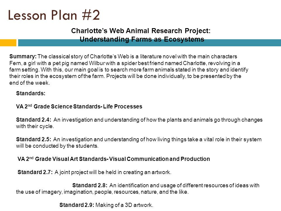 Lesson Plan #2 cont Lesson objectives: By the end of the lesson students will be able to: Show awareness of the uniqueness of an ecosystem and how it functions collectively and individually.