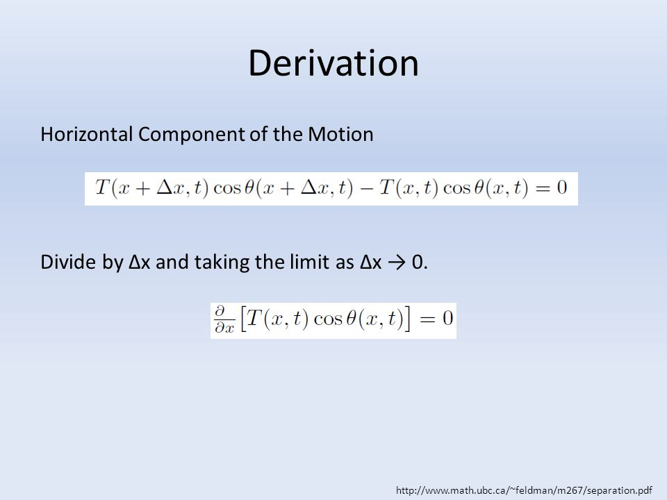Derivation Horizontal Component of the Motion Divide by Δx and taking the limit as Δx → 0.