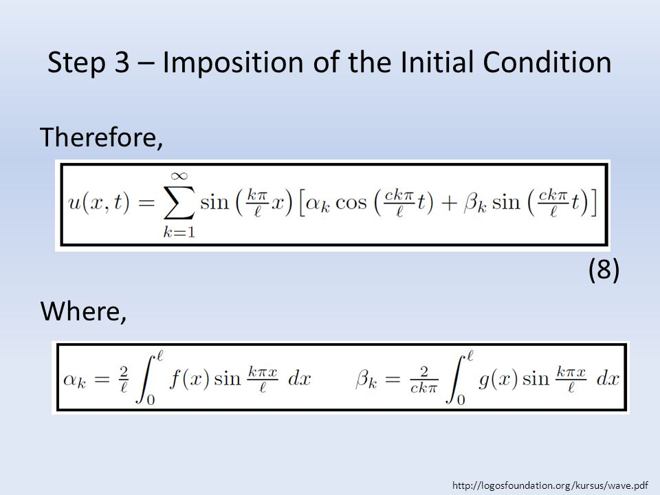 Step 3 – Imposition of the Initial Condition Therefore, (8) Where, http://logosfoundation.org/kursus/wave.pdf