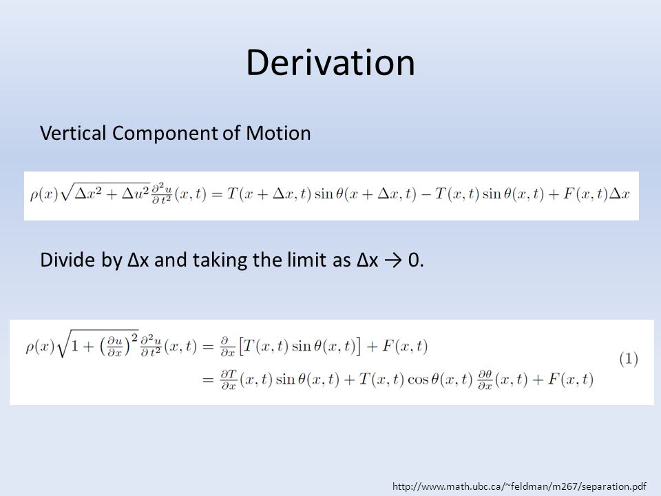 Derivation Vertical Component of Motion Divide by Δx and taking the limit as Δx → 0.