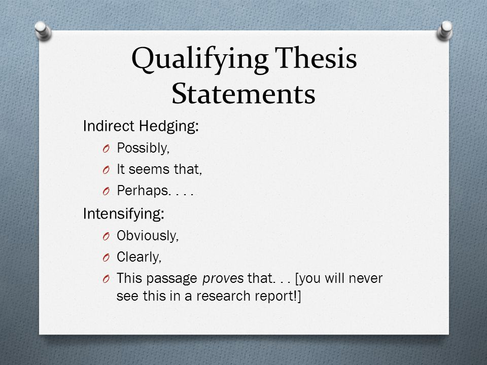 Qualifying Thesis Statements Indirect Hedging: O Possibly, O It seems that, O Perhaps....
