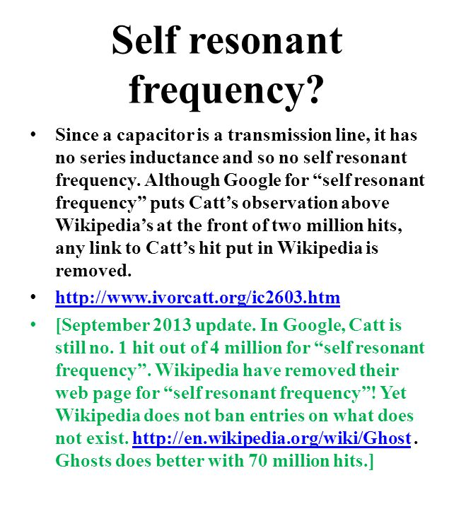 Self resonant frequency.