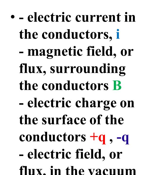 - electric current in the conductors, i - magnetic field, or flux, surrounding the conductors B - electric charge on the surface of the conductors +q, -q - electric field, or flux, in the vacuum terminating on the charge, D