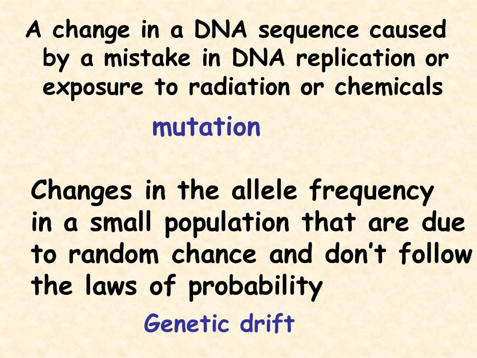 A change in a DNA sequence caused by a mistake in DNA replication or exposure to radiation or chemicals mutation Changes in the allele frequency in a