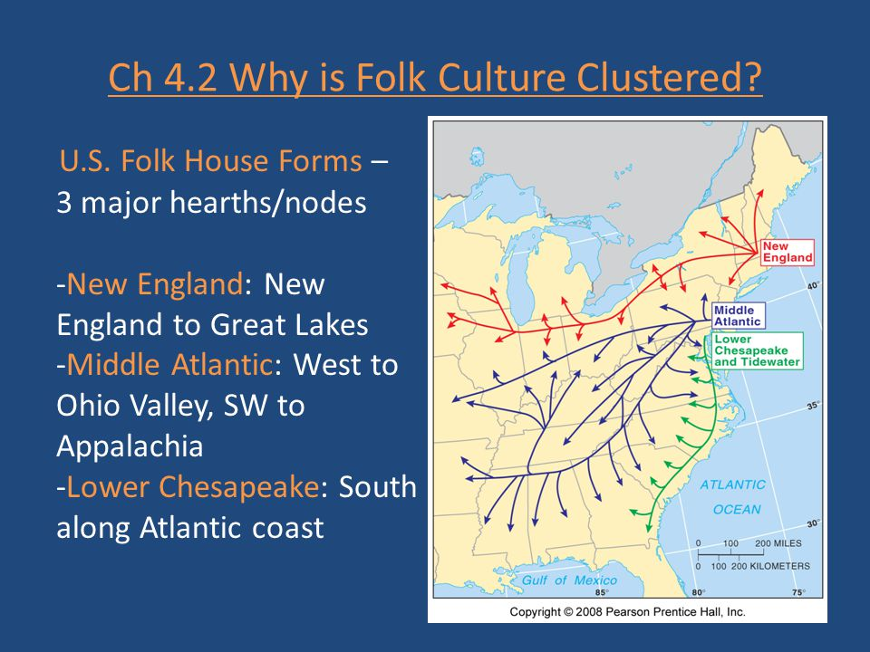 Ch 4.2 Why is Folk Culture Clustered? U.S. Folk House Forms – 3 major hearths/nodes -New England: New England to Great Lakes -Middle Atlantic: West to