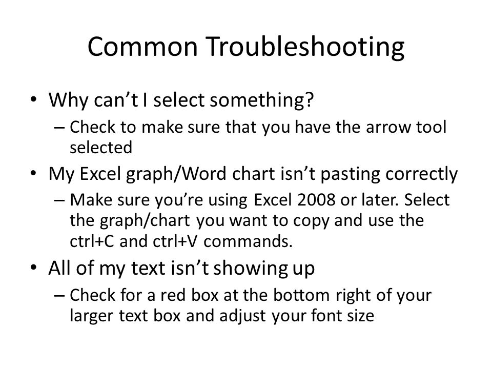 Common Troubleshooting Why can't I select something.