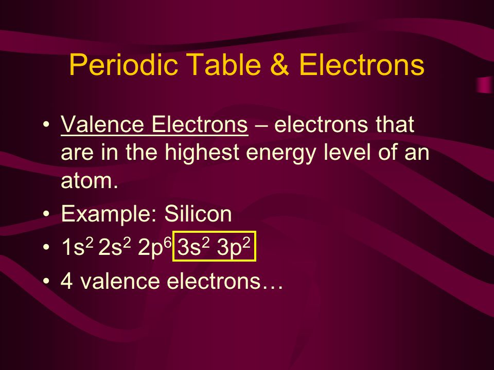 Periodic Table & Electrons Valence Electrons – electrons that are in the highest energy level of an atom.