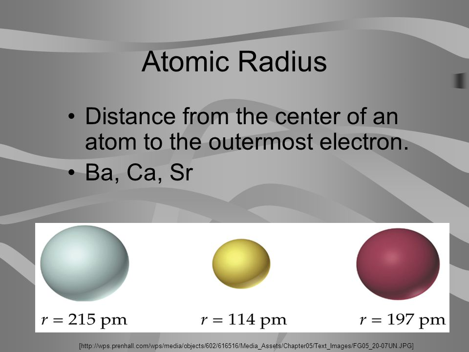 Atomic Radius Distance from the center of an atom to the outermost electron.