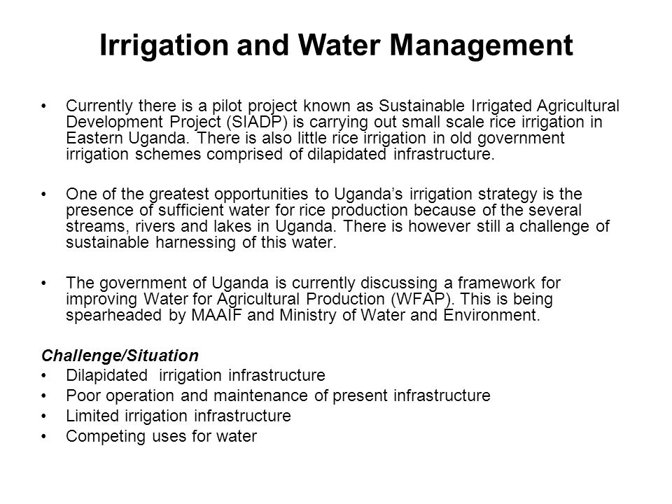 Irrigation and Water Management Currently there is a pilot project known as Sustainable Irrigated Agricultural Development Project (SIADP) is carrying out small scale rice irrigation in Eastern Uganda.