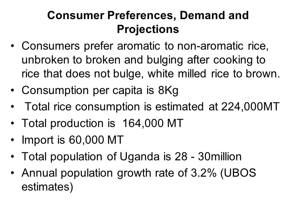 Consumers prefer aromatic to non-aromatic rice, unbroken to broken and bulging after cooking to rice that does not bulge, white milled rice to brown.
