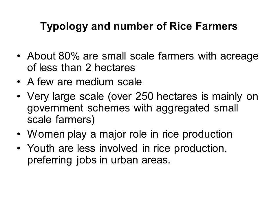 Typology and number of Rice Farmers About 80% are small scale farmers with acreage of less than 2 hectares A few are medium scale Very large scale (over 250 hectares is mainly on government schemes with aggregated small scale farmers) Women play a major role in rice production Youth are less involved in rice production, preferring jobs in urban areas.