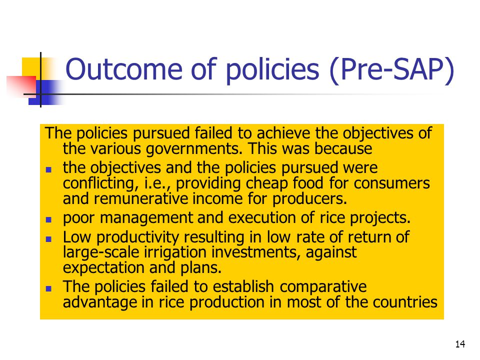 14 Outcome of policies (Pre-SAP) The policies pursued failed to achieve the objectives of the various governments.