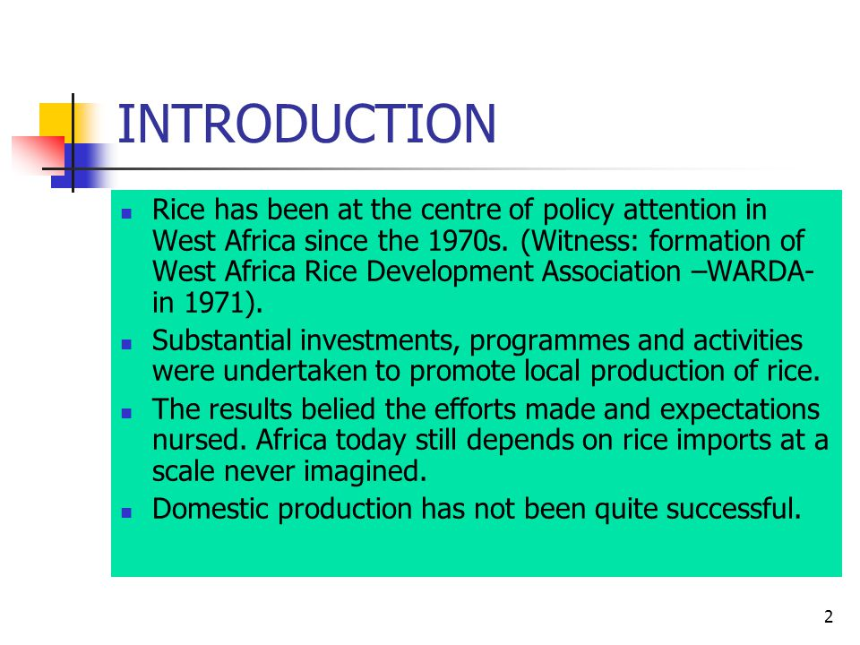 13 NIGERIA The Nigerian rice sector showed certain characteristics, namely: importation was massive and quality suffered; government was directly involved in distribution and marketing of imported rice and absorbed the associated marketing costs; urban consumption increased by 10% yearly.