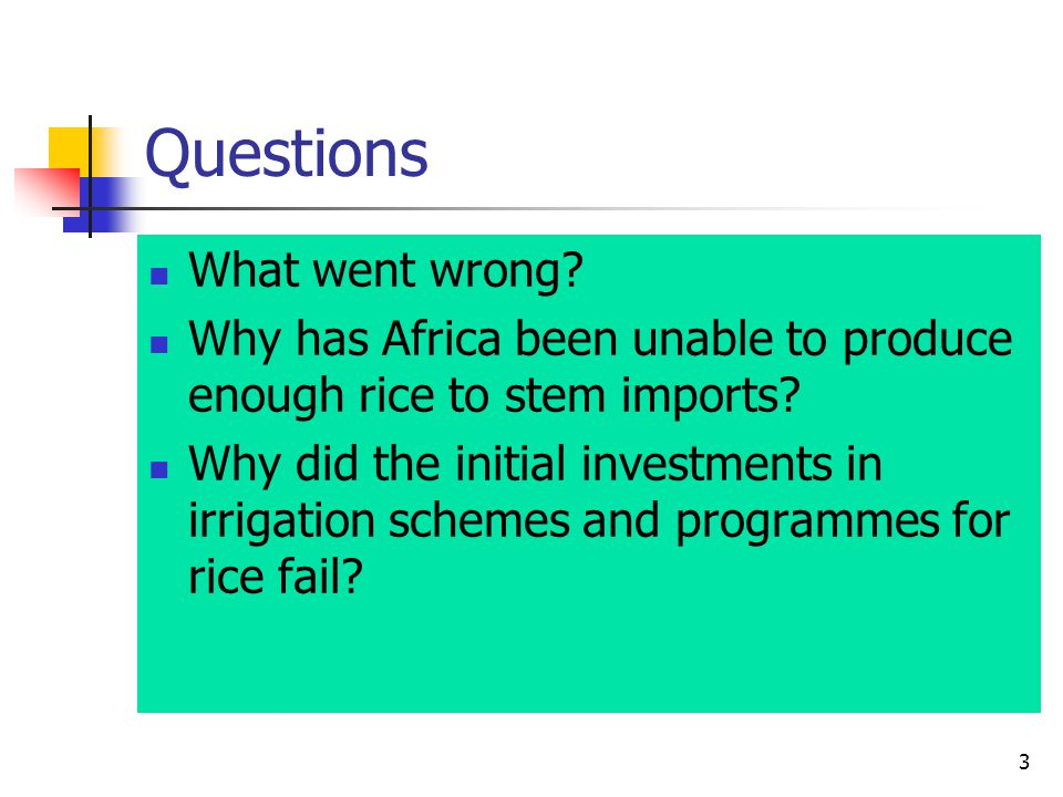 3 Questions What went wrong. Why has Africa been unable to produce enough rice to stem imports.