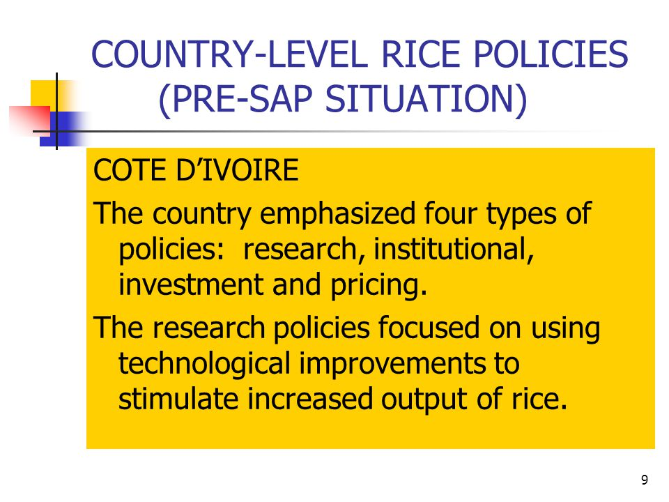 9 COUNTRY-LEVEL RICE POLICIES (PRE-SAP SITUATION) COTE D'IVOIRE The country emphasized four types of policies: research, institutional, investment and pricing.