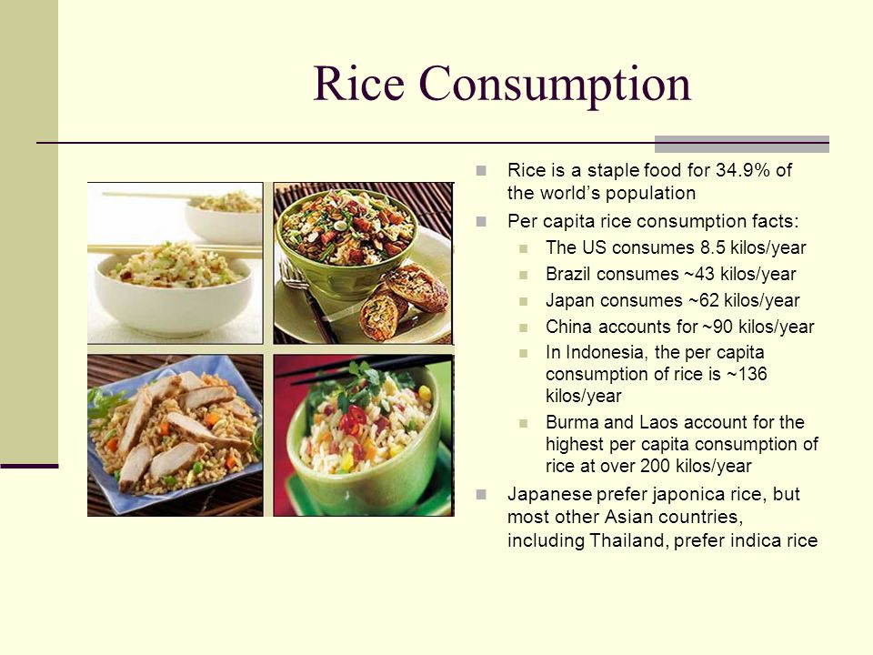 Rice Consumption Rice is a staple food for 34.9% of the world's population Per capita rice consumption facts: The US consumes 8.5 kilos/year Brazil co