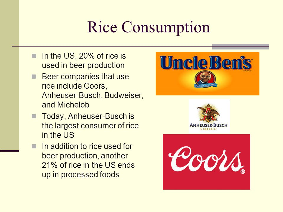 Rice Consumption In the US, 20% of rice is used in beer production Beer companies that use rice include Coors, Anheuser-Busch, Budweiser, and Michelob