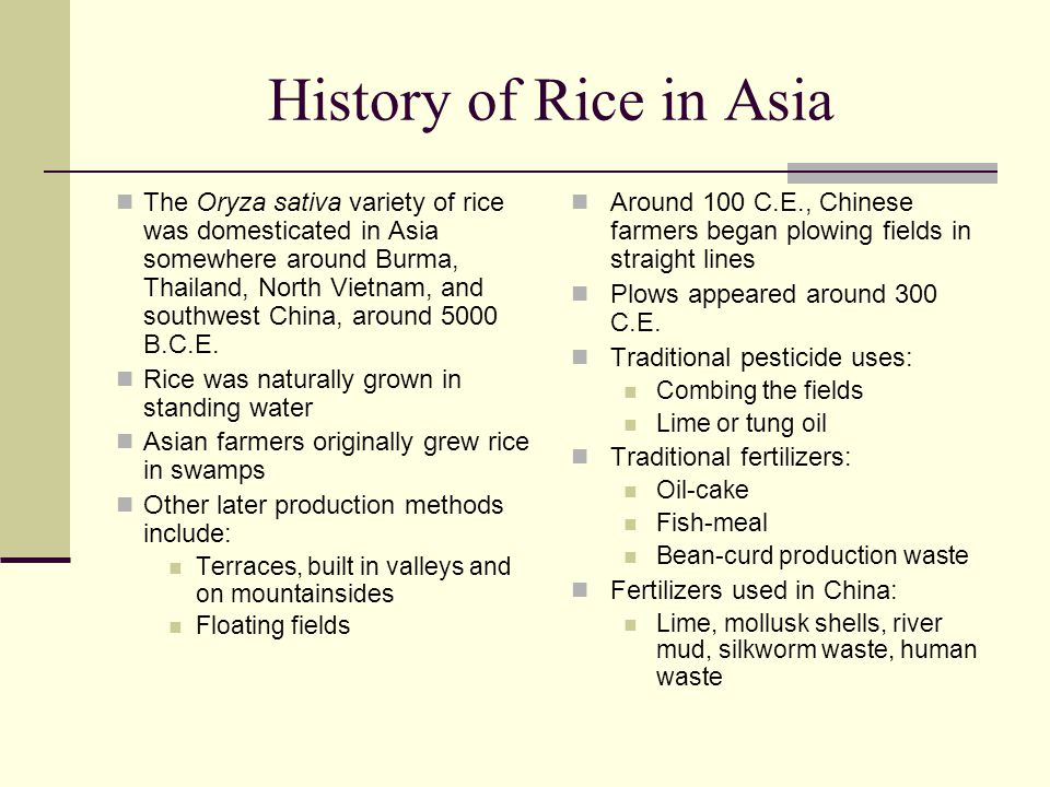 Rice Consumption Rice is a staple food for 34.9% of the world's population Per capita rice consumption facts: The US consumes 8.5 kilos/year Brazil consumes ~43 kilos/year Japan consumes ~62 kilos/year China accounts for ~90 kilos/year In Indonesia, the per capita consumption of rice is ~136 kilos/year Burma and Laos account for the highest per capita consumption of rice at over 200 kilos/year Japanese prefer japonica rice, but most other Asian countries, including Thailand, prefer indica rice