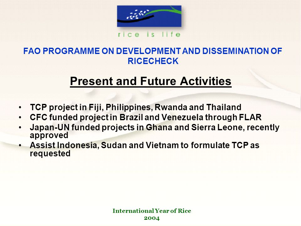 International Year of Rice 2004 FAO PROGRAMME ON DEVELOPMENT AND DISSEMINATION OF RICECHECK Present and Future Activities TCP project in Fiji, Philippines, Rwanda and Thailand CFC funded project in Brazil and Venezuela through FLAR Japan-UN funded projects in Ghana and Sierra Leone, recently approved Assist Indonesia, Sudan and Vietnam to formulate TCP as requested